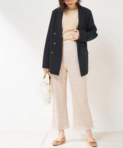 [natural couture] クロシェ風レースパンツ