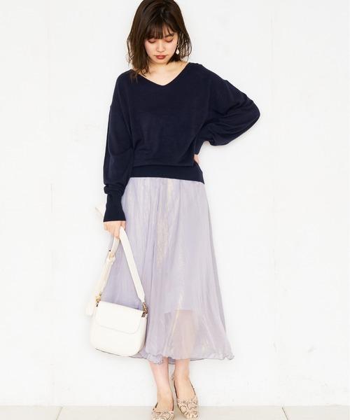 [natural couture] 【WEB限定カラー有り】シアー箔スカート2