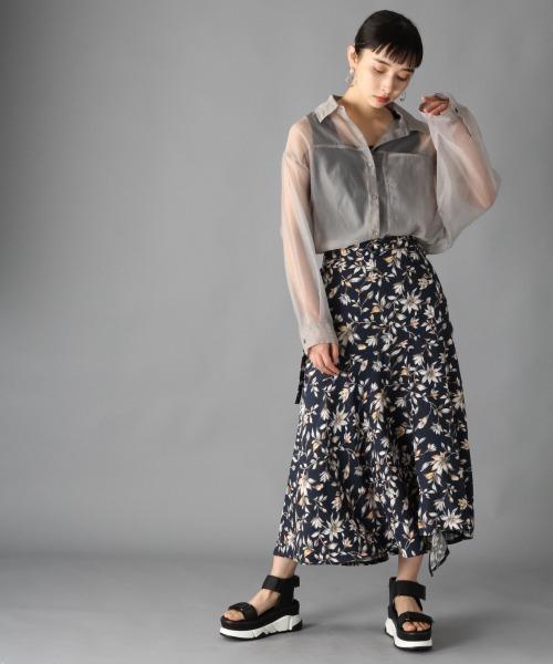 青系マーメイドスカートのコーデ