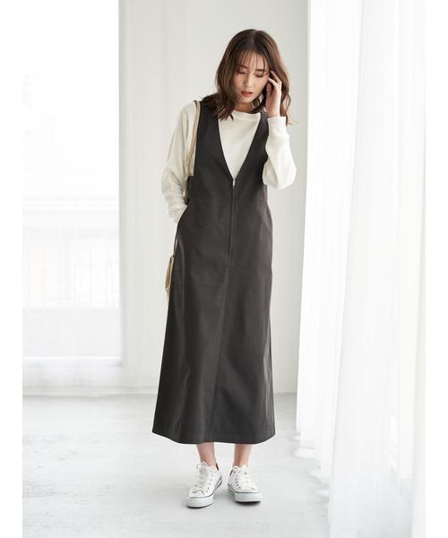 [Green Parks] ツイルジャンパースカート*★