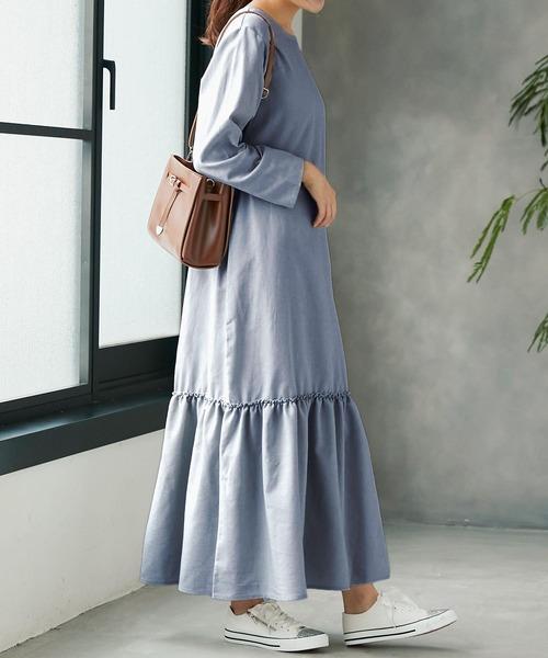 [kobelettuce] 裾ティアードIラインマキシワンピース