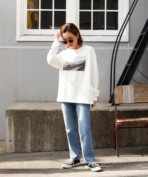 [Auntie Rosa] 【Holiday】モノクロフォトTシャツ /ヘヴィーウエイトコットン
