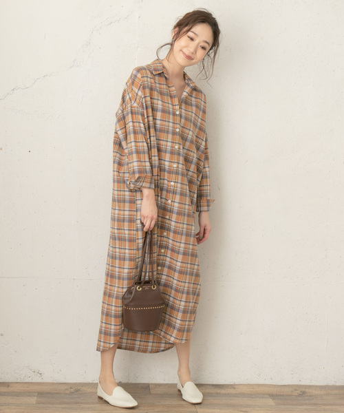 [URBAN RESEARCH ROSSO WOMEN] F by ROSSO チェックロングシャツワンピース