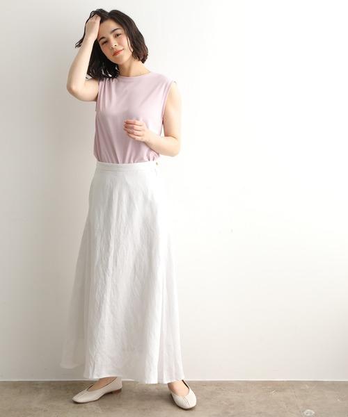 [ADAM ET ROPE'] 【セットアップ対応】リヨセル/麻ツイルロングスカート(入学式・卒業式にも)