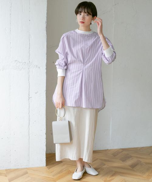 クレリックストライプシャツの春コーデ