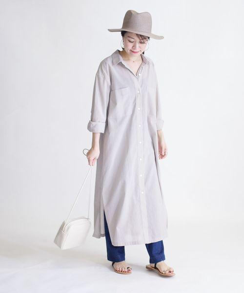 [SHIPS for women] コットンボイル羽織りワンピース◇