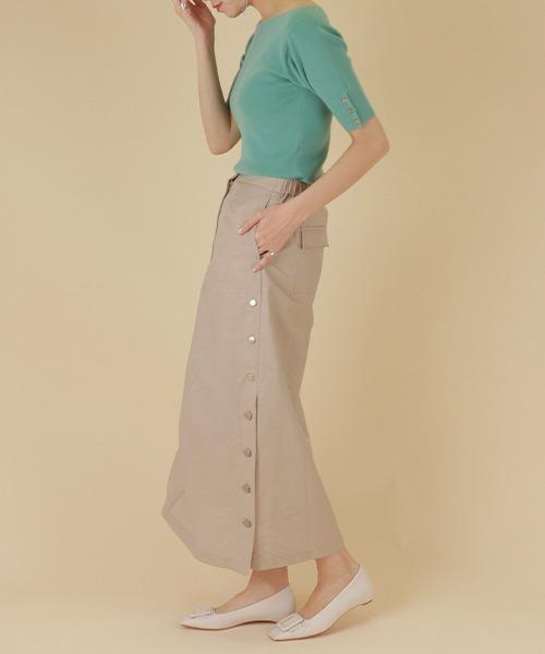 [RANDA] ポイントギャザーサイド釦スカート