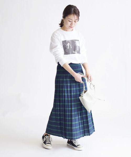 [SHIPS for women] リバーシブルボーダースカート◆