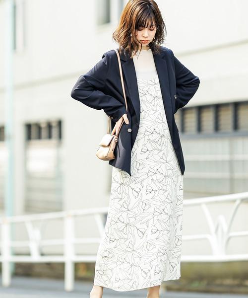 [natural couture] 線画フラワープリントキャミワンピース