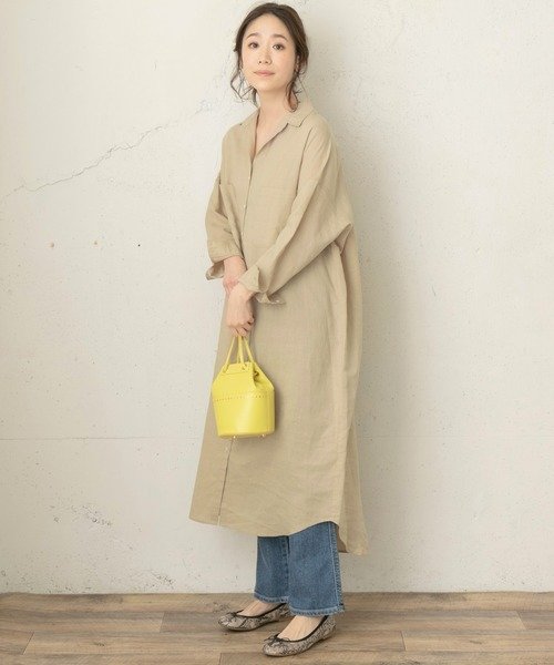 [URBAN RESEARCH ROSSO WOMEN] F by ROSSO リネンロングシャツワンピース