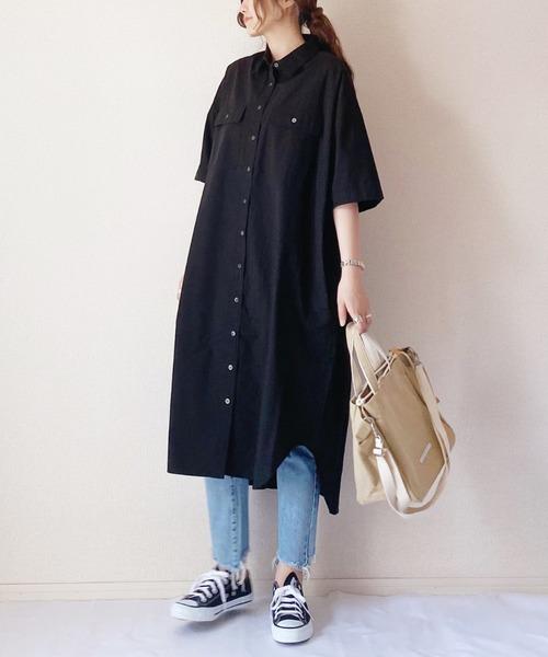 [AZUL ENCANTO] 【洗濯機で洗える】【消臭効果】ワークポケット半袖シャツワンピース