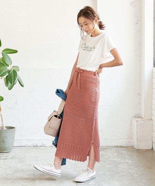 [kobelettuce] 透かし編みニットロングスカート