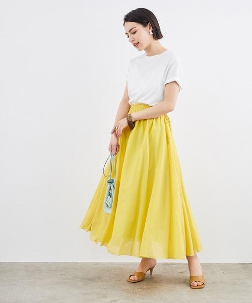 コットンボイルマキシスカート×Tシャツ