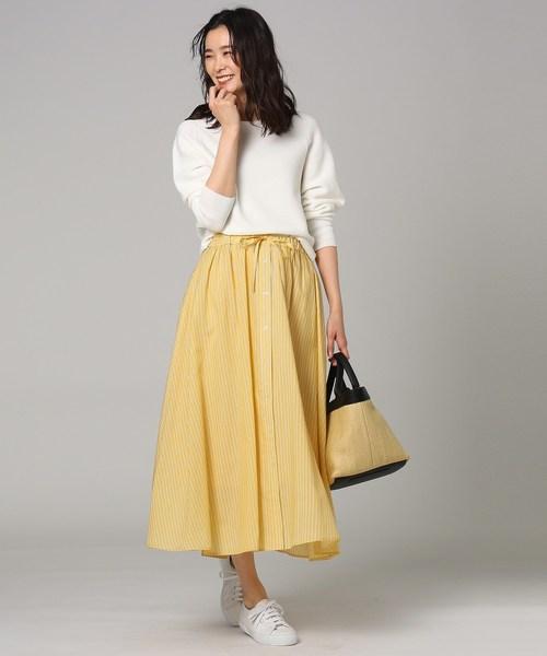[UNTITLED] [L]【洗える】ローンストライプスカート