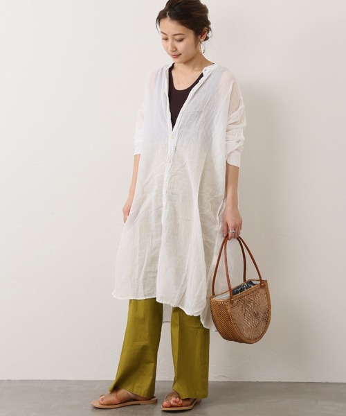 [JOURNAL STANDARD] 【ARMEN/アーメン】UTILTY BANDED COLLAR LONG SHIRTS:シャツ◆