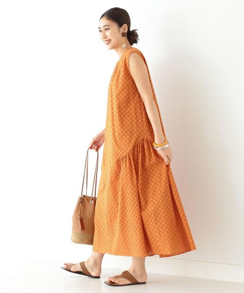 [BEAMS WOMEN] Demi-Luxe BEAMS / 刺繍コットン ワンピース