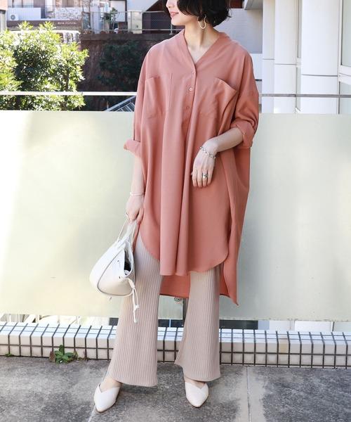[and Me(アンドミー)] スキッパー長袖胸ポケットシャツワンピース