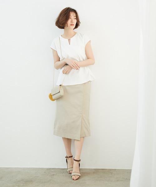 [ROPE' PICNIC] 【セットアップ対応】リネン混タックアイラインスカート