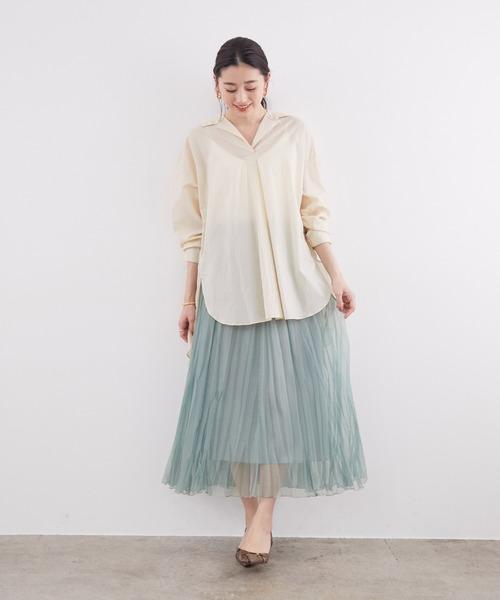 [ROPE'] オーガンジーハンドプリーツスカート