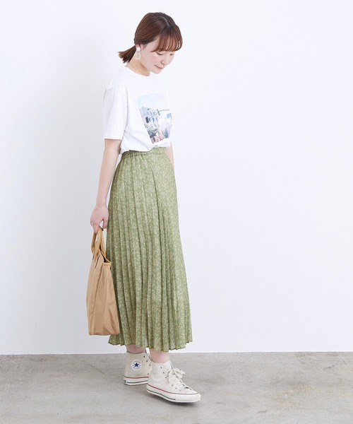 [ADAM ET ROPE'] 【WEB限定】シアーフラワープリーツスカート