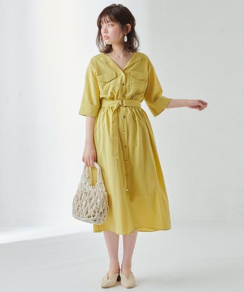 [natural couture] お上品ちょい開襟シャツワンピース
