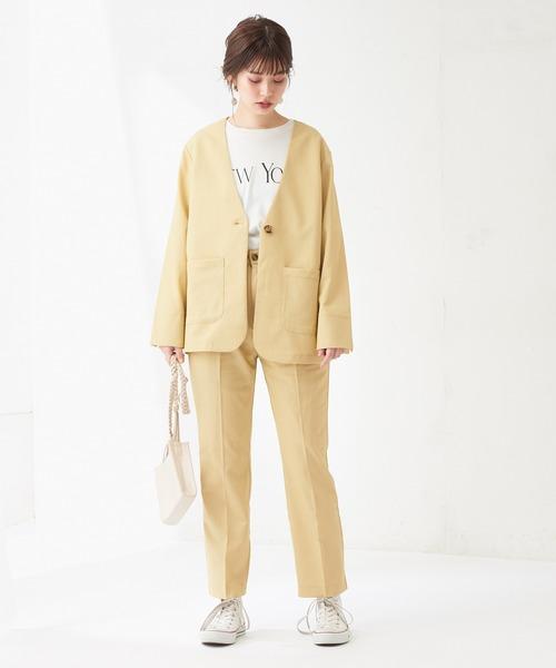 [natural couture] 【WEB限定】綿ライクノーカラージャケット+パンツ