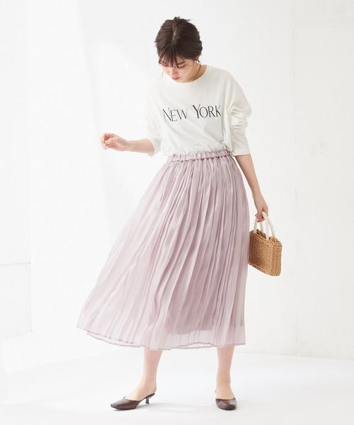 [natural couture] オーロラシアープリーツスカート