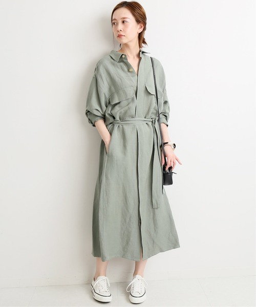 [IENA] 【TRADITIONAL WEATHERWEAR】 ロングシャツワンピース◆
