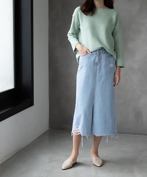 [MODE ROBE] ダメージデニムスカート