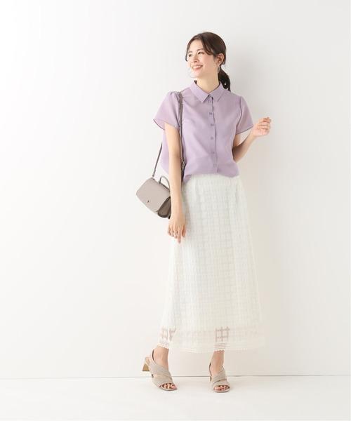 チュールフラワースカート×半袖シャツ