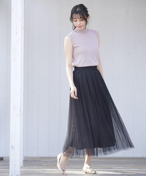 [rps] チュール消しプリーツスカート