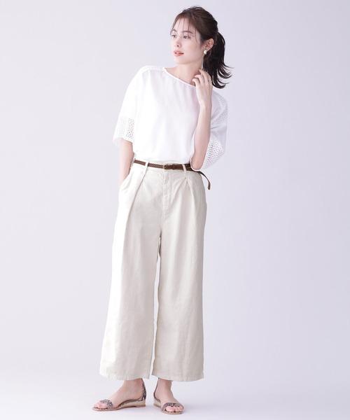 五分袖トップス×ワイドパンツで8月の服装