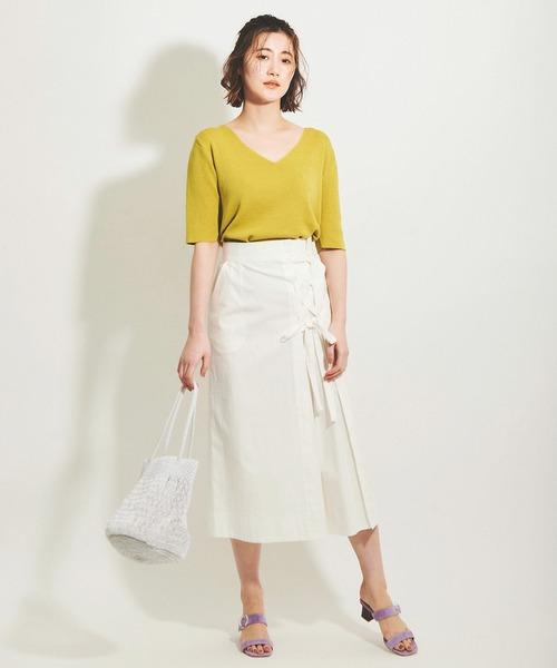 5分袖ニット×ホワイトロングスカート