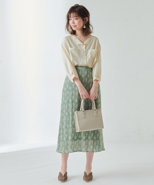 [natural couture] シャーリングプリーツ花柄スカート