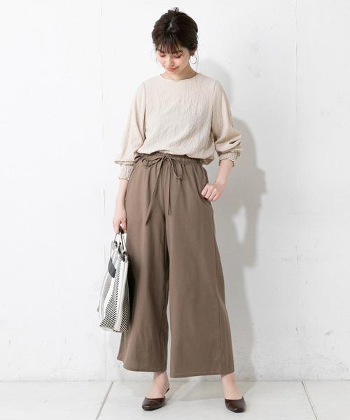 [natural couture] コットンリボンイージーパンツ