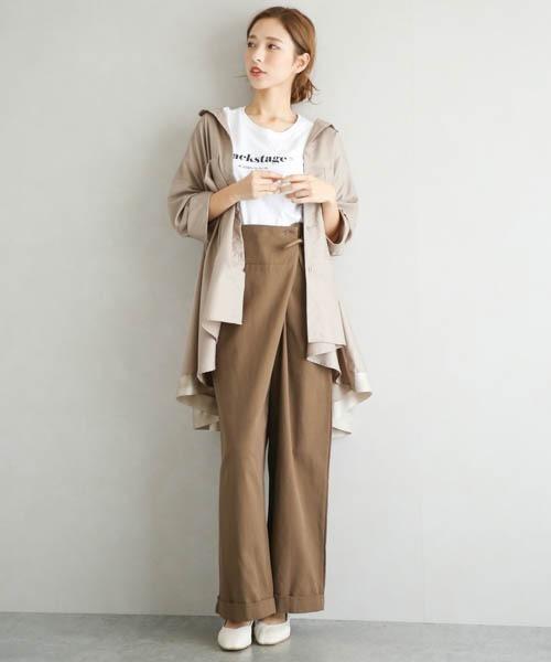 [La-gemme] フレアデザインシャツ
