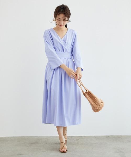 [ROPE'] 【洗える】カノコジャージーカシュクールワンピース