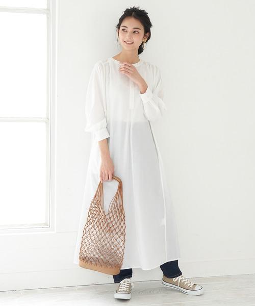 [ROPE' PICNIC] 【WEB限定】バンドカラーシャツワンピース