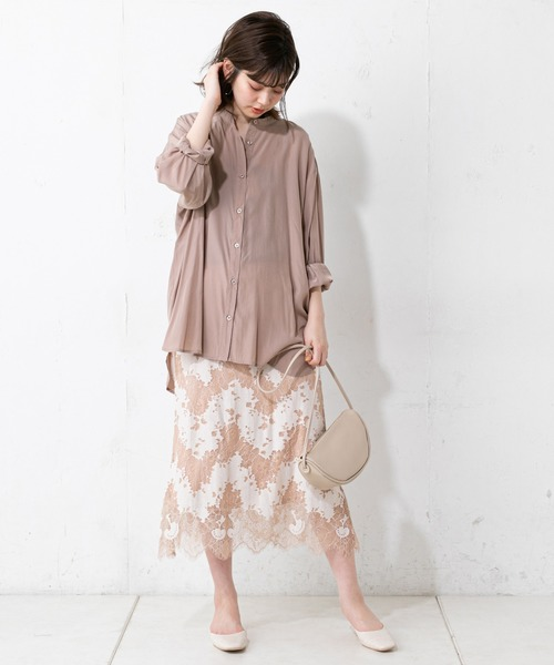 [natural couture] やわらか微光沢バンドカラーシャツ