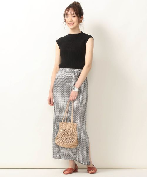 [SHIPS for women] SHIPS any:PARIS AUTHENTIQUE プリントラップライクスカート◆