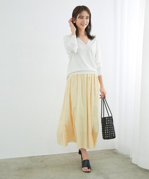 [ROPE'] カラーダンガリーツイルギャザーマキシスカート