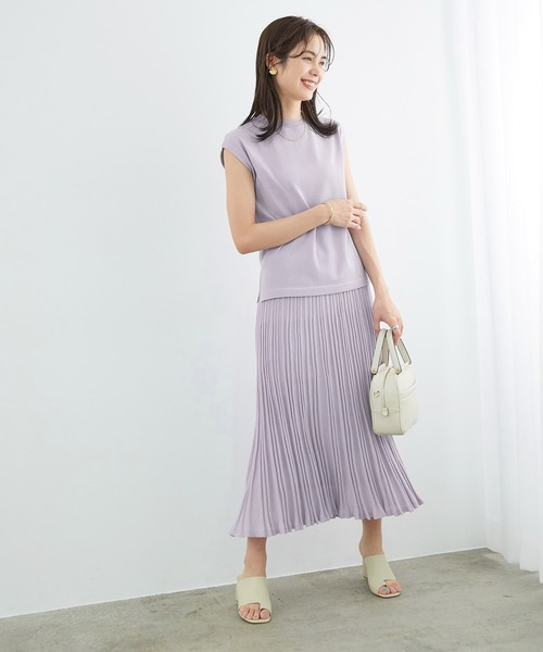 [ROPE'] 【セットアップ対応】プリーツ風ニットスカート