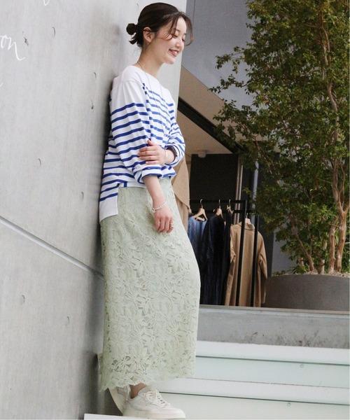 [IENA] フラワーレースタイトスカート◆