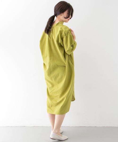 [KBF] リネンMIXバンドカラーシャツワンピース