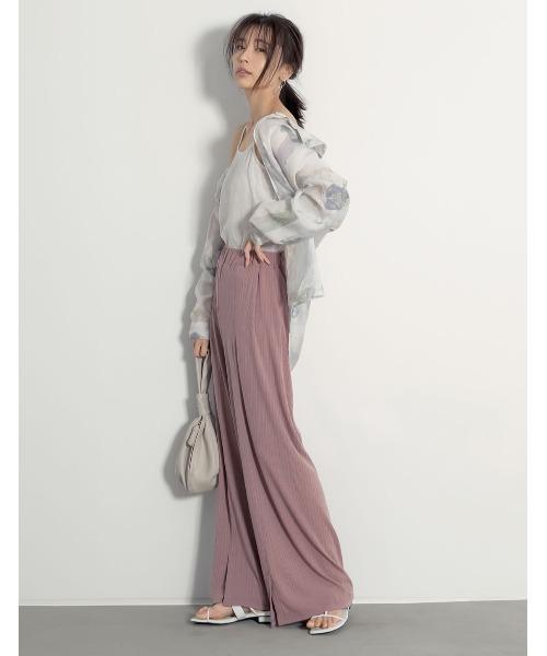 [Re:EDIT] [低身長向けSサイズ対応][高身長向けMサイズ対応]美シルエット裾スリットリラックスパンツ