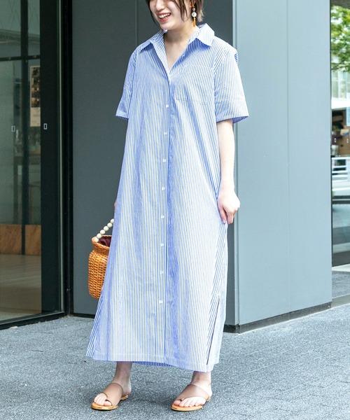 40代の爽やかシャツワンピースの夏コーデ