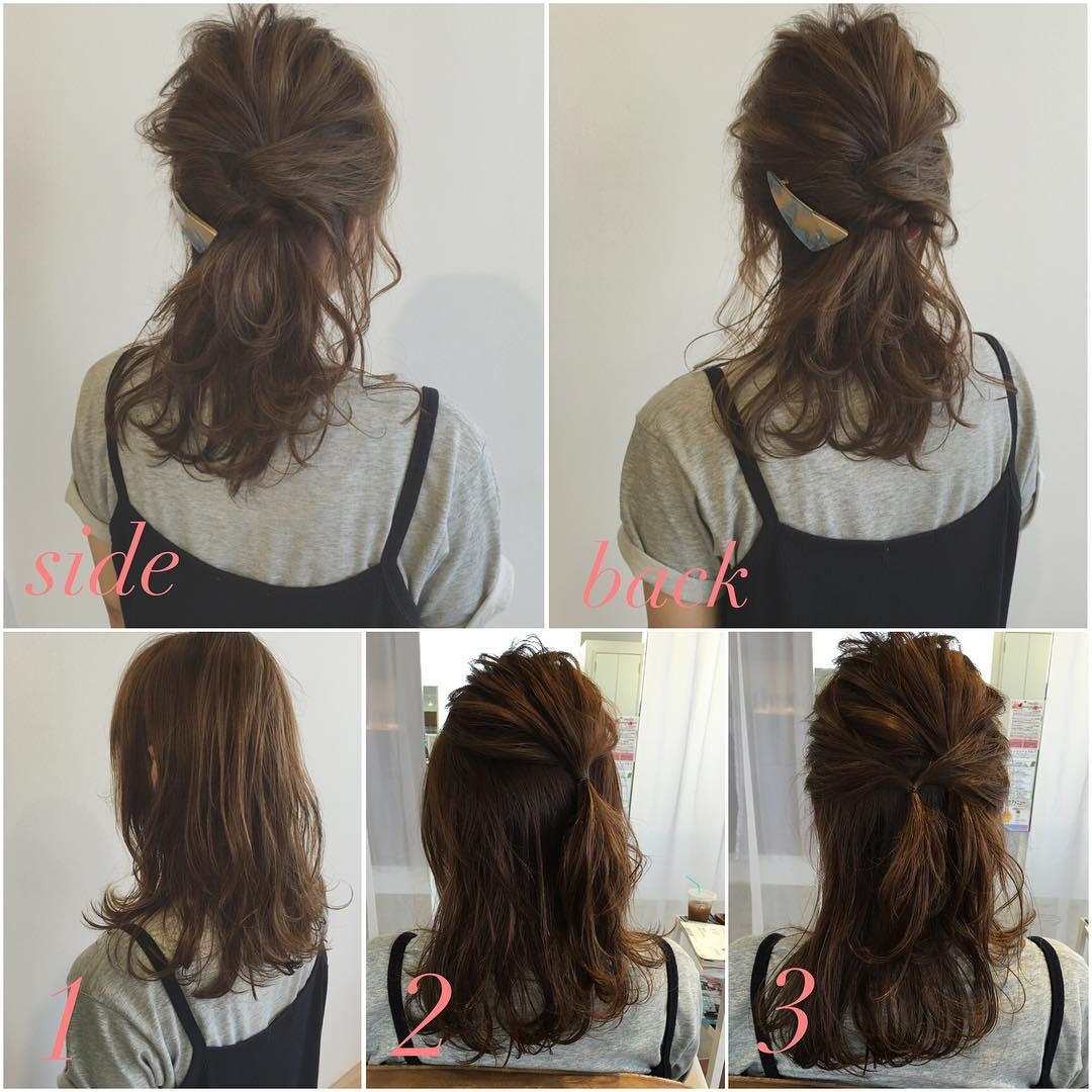 簡単でラフなデート向けミディアムの髪型