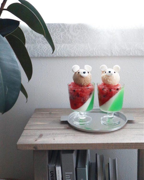 おうちスイーツ すいかシャーベット&ゼリーパフェ
