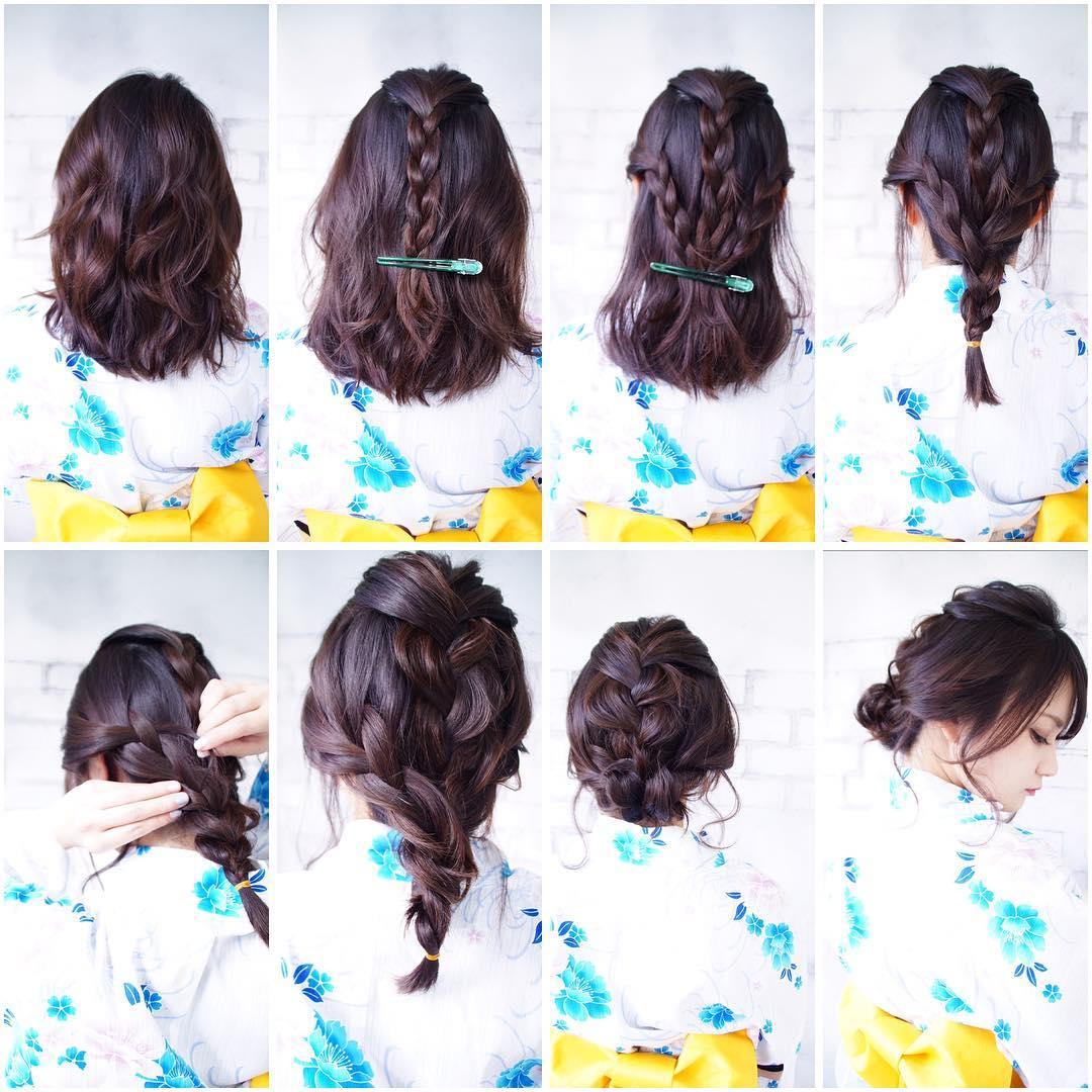 浴衣に似合うミディアムヘアアレンジ5.編み込み3