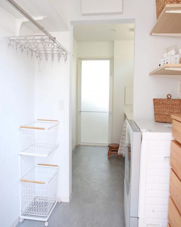 お風呂場から家事室が一直線